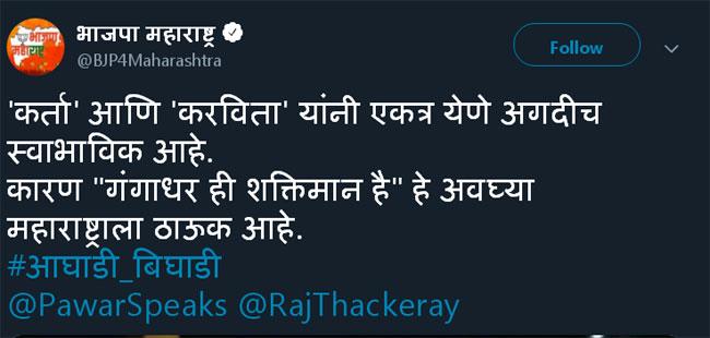 'गंगाधरही शक्तीमान है', राज-शरद पवार भेटीवर भाजपाचा निशाणा!